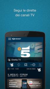vedere la tv su smartphone e tablet Android mediaset 2