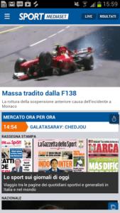 vedere la tv su smartphone e tablet Android sport mediaset 1