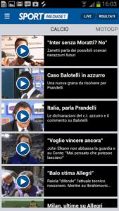 vedere la tv su smartphone e tablet Android sport mediaset 3